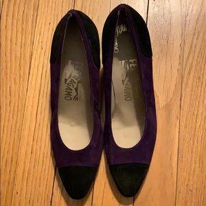 Vintage Ferragamo Purple & Black Heels NEVER WORN